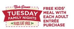 Kids Eat Free on Tuesdays at Bob Evans