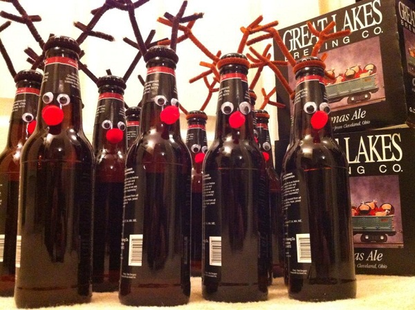 a gift of rudolph beer just pick up some brown pipe cleaners googly eyes red pom poms and glue i didnt bother removing the labels but you could